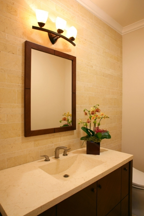 Beautiful Bathroom Lighting Fixtures Ideas With Marvelous Wooden Vanity And Marble Top Under Image
