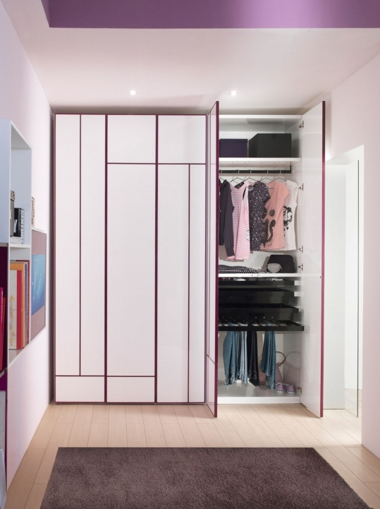 Bedroom cupboard designs and colours with awesome closets storage walk in closet with purple for Bedroom walk in closet designs