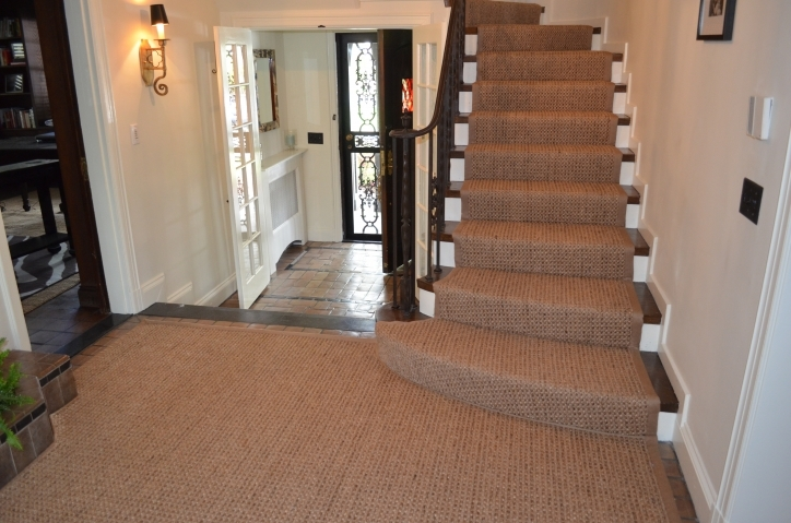 Hardwood Stairs Carpet Runner Wooden Stairs With Natural And Iron Handrail Picture 940