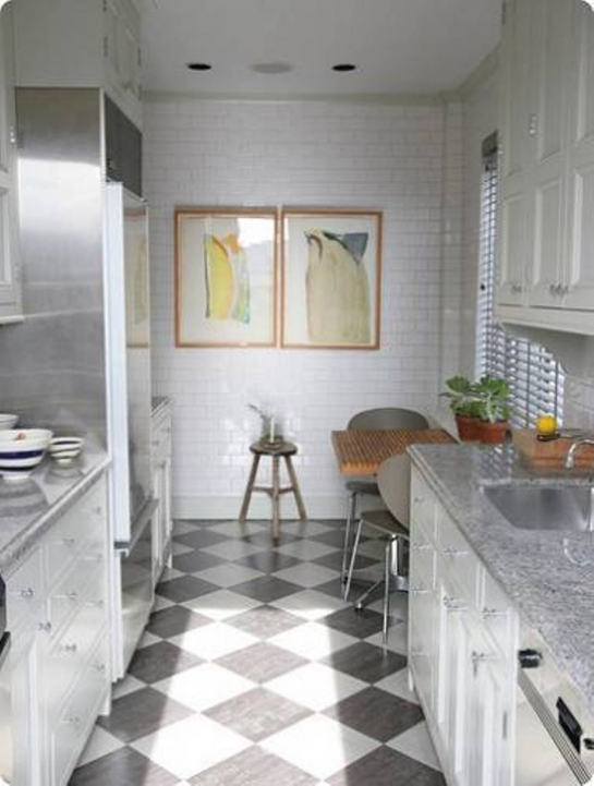 Kitchen Flooring Ideas With Stunning Interior Chic Small Kitchen Using Ceramic Chess Floor Also White Subway Wall Decoration Picture163