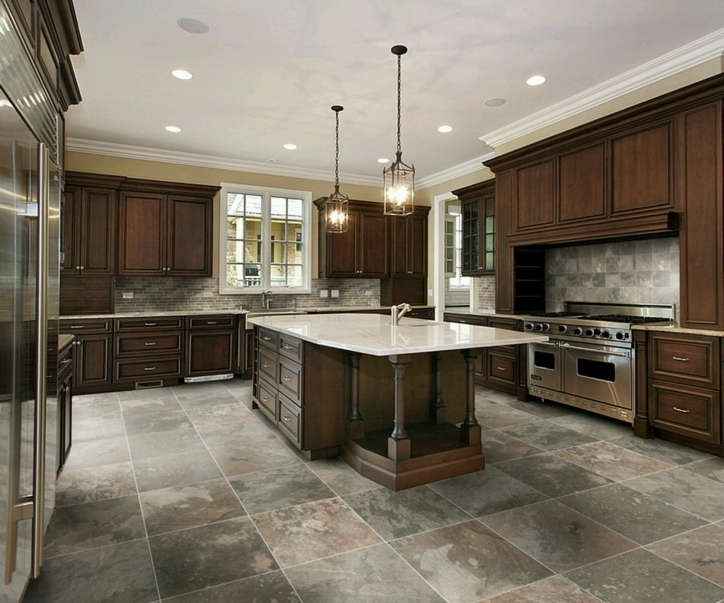 Kitchen Flooring Ideas Within Marvelous Dark Wood Cabinets And Kitchen Floor Tile Design Ideas Pics349