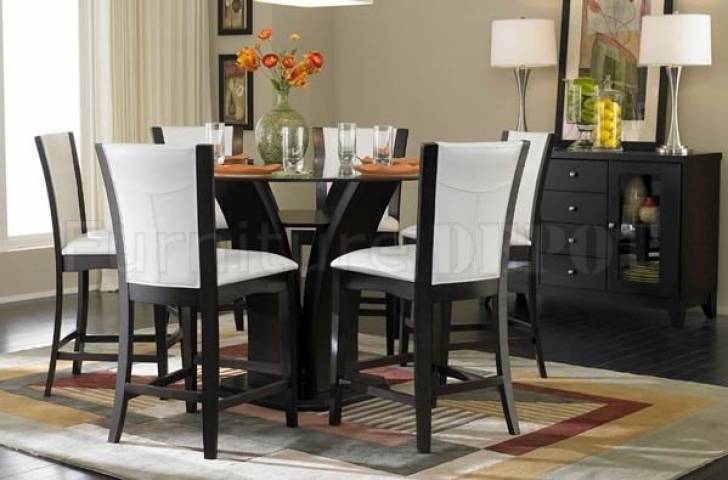 Modern Counter Height Dining Sets Regarding Classy White And Black Design Pics