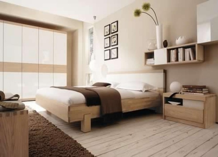 Paint Colors For Bedrooms With Light Wood Furniture Regarding Beautiful Beige Painted Wall And Natural Oak Wood Single Bed Pic