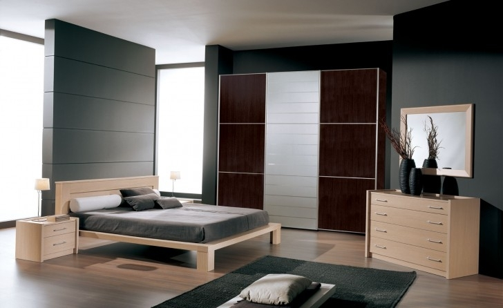 Paint Colors For Bedrooms With Light Wood Furniture Within Outstanding Dark And Greige Wall And Huge Wardrobe In Laminate Brown Also Paneling Color Paint Photo