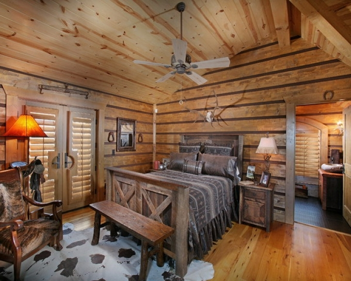 Rustic Bedroom Furniture Ideas With Wooden Wall 566