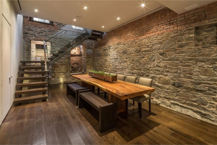 Rustic Dining Room Sets Within Beautiful Decoration Using Light Grey Stone Wall And Small White Led Lamp Image 847