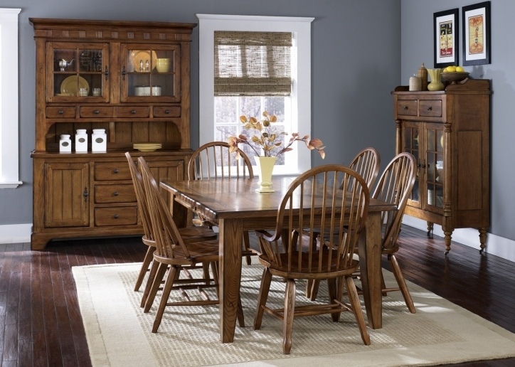 Rustic Dining Room Sets Within Stylish Oak Finish Formal Dining Room Table Image 762