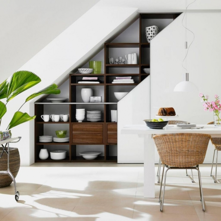 Under Stairs Storage Ideas Contemporary Decoration With Dark Brown Wood And White Wood Rectangular Dining Table 026