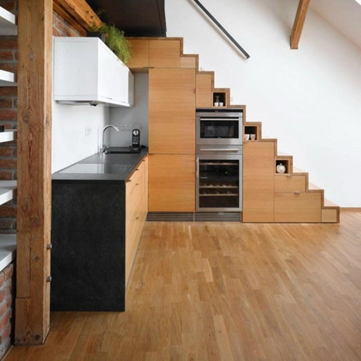 Under Stairs Storage Ideas In Kitchen Wooden Materials 869