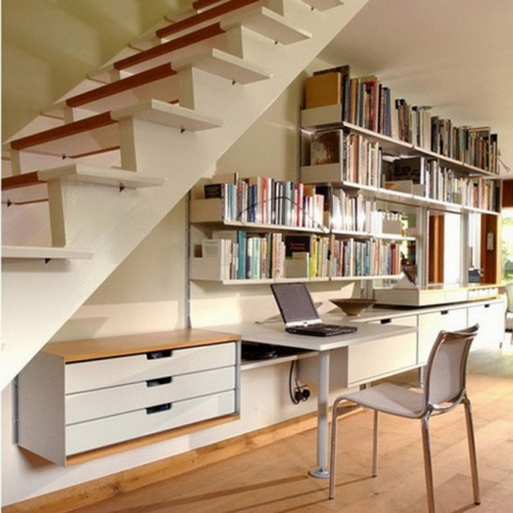 Under Stairs Storage Ideas Interior Furniture Solutions With Wall Mount Books Shelves And White Wooden Study Desk 584