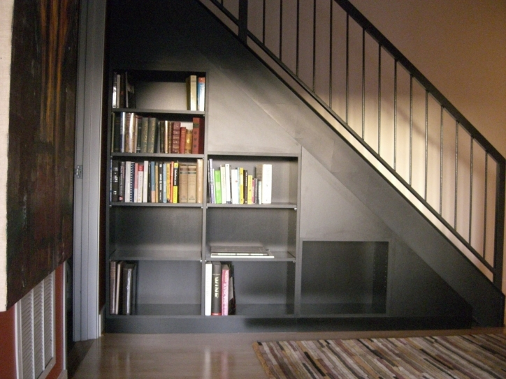 Under Stairs Storage Ideas With Metal Rail And Bookshelf Also Central Carpet Decor 583