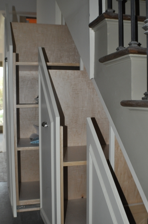 Under Stairs Storage Ideas With Modern White Step Ladder Furniture Chic Sliding Rack 987