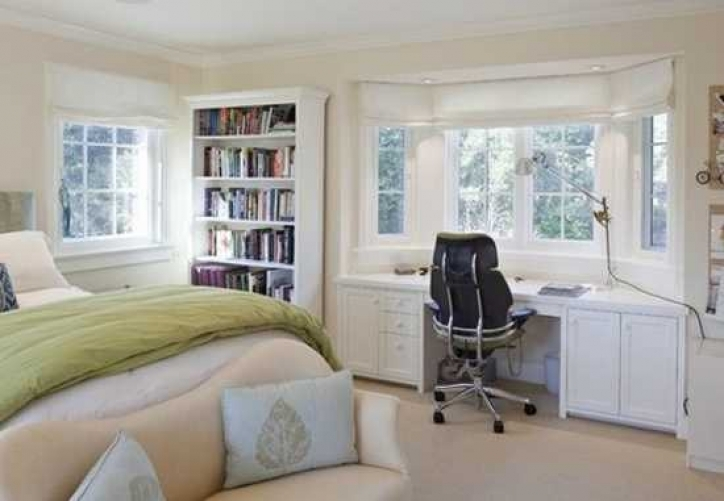 Under Window Storage Bay Window Design With Desk For Bedroom Decor 432