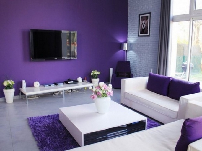 Amazing Purple Wall Decor Regarding Living Room Furniture White Color Ideas Pics