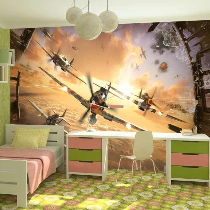 Amazing removable wall murals modern decor dogfighter 3d for Cheap mural wallpaper
