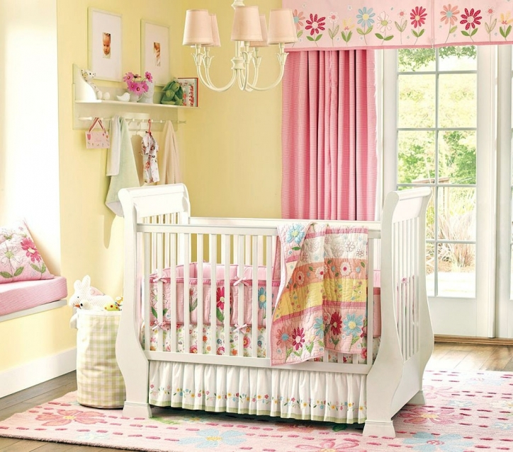 Baby Girl Nursery Themes Beautiful Yellow Wall Color With White Crib On Carpet And Sweet Lighting Pics