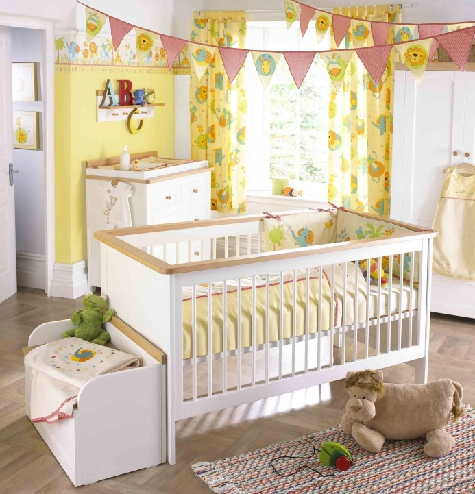 Baby Girl Nursery Themes White Lacquered Wood Baby Crib Yellow Lion King Curtain Picture