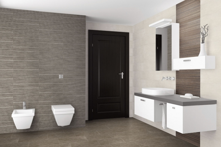 Bathroom Ceramic Wall Tiles Combination Grey Striped Wall Tiles And Black Wooden Veneer Door Pics