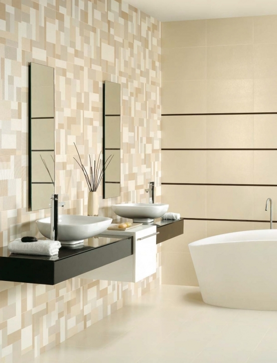 Amazing Geometric Red  White Mosaic Bathroom Tile   Bathroom Design Tips