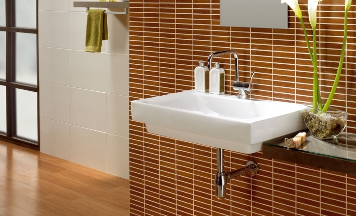 Ceramic Bathroom Wall Tiles With White Sink And Faucet Towel Holder Wooden Interior Pics