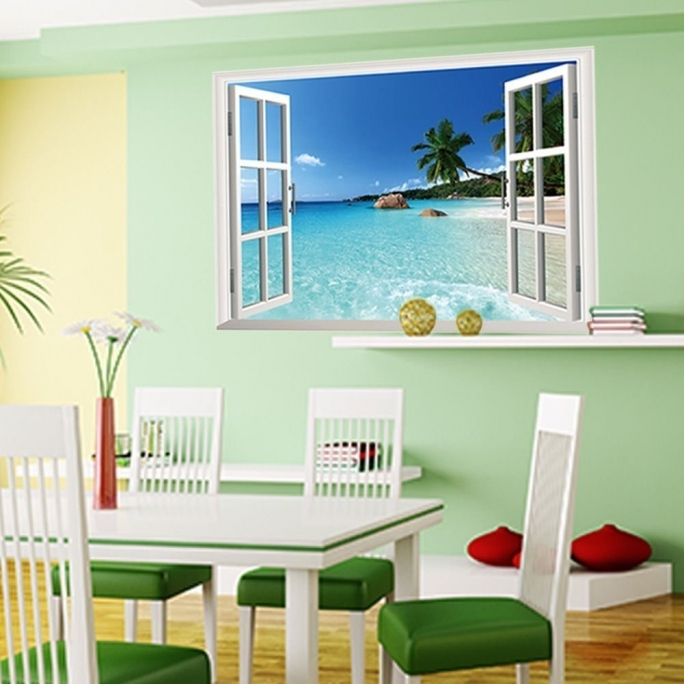 Classy Removable Wall Murals Decal Large Removable Beach Sea 3D Window View Images