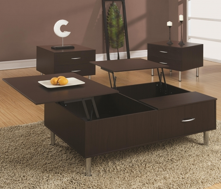 Contemporary Coffee Tables With Storage Solid Black Wooden Lift Top Mixed Brown Fur Rug Pictures