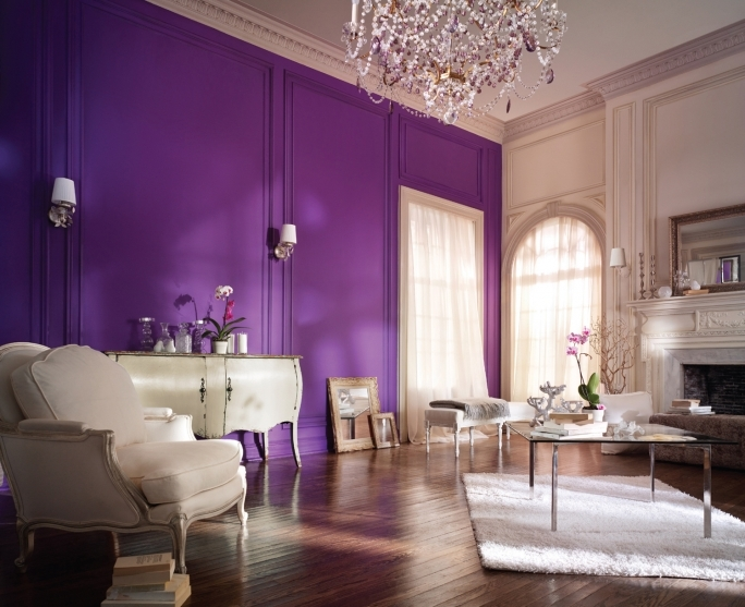 Cozy Purple Wall Decor With Regard To Living Room Decoration With White Sofa And Chandelier  Pics