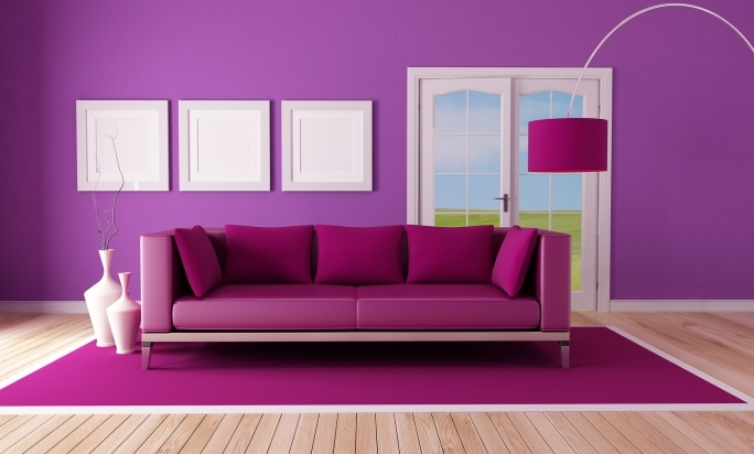 Extraordinary Purple Wall Decor Inside Simple Minimalist Living Room Wall Design Pics