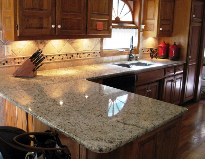 Extraordinary ST Cecilia Light Granite Kitchen Brown Kitchen Island And Faucet With Tile Backsplash Pictures