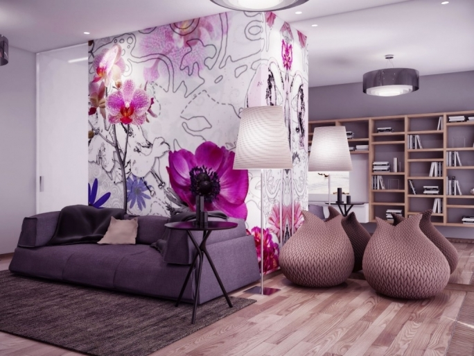 Fascinating Purple Wall Decor With Regard To Pink Wall Art Grey Sofa Living Room Ideas  Image