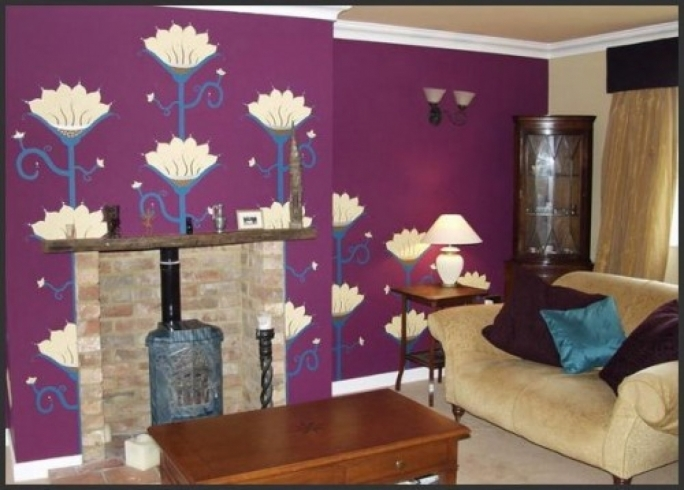 Gorgeous Purple Wall Decor Regarding Living Room Idea With Purple Wall Mural Buy Wall Images