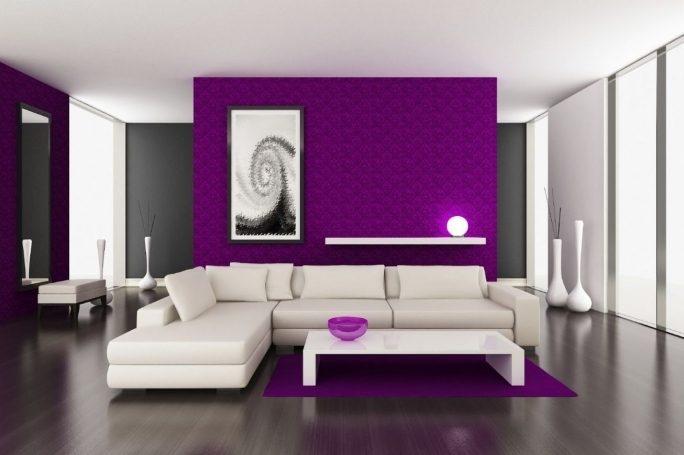 Great Purple Wall Decor With Living Room Design  With White Solid Wood Floating Under Cool White Round Wall Lamp Photo