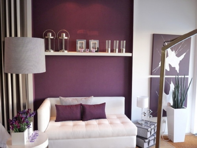 Incredible Purple Wall Decor With Contemporary Living Room Decorations Images