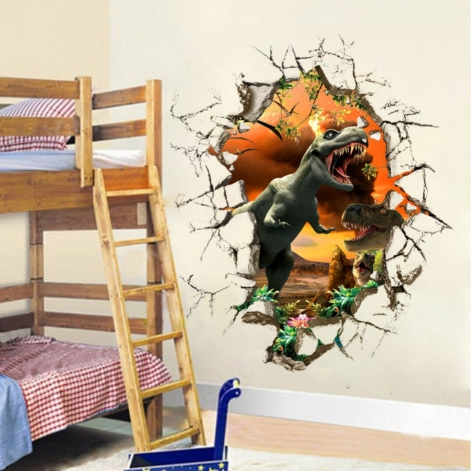 Jurassic World Room Decor D Cartoon Wall Sticker Removable Mural - 3d dinosaur wall decalsd dinosaur wall stickers for kids bedrooms jurassic world wall