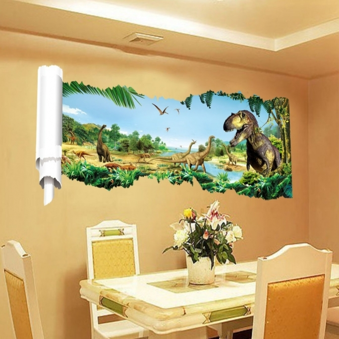 Jurassic world room decor dinosaur wall stickers children for 3d dining room wall art