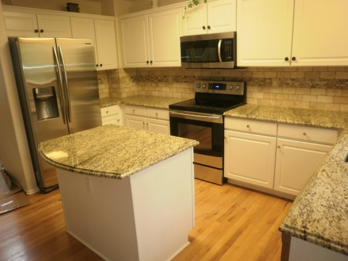 Marvelous ST Cecilia Light Granite Kitchen White Kitchen Cabinet With Countertop And Stove Pics