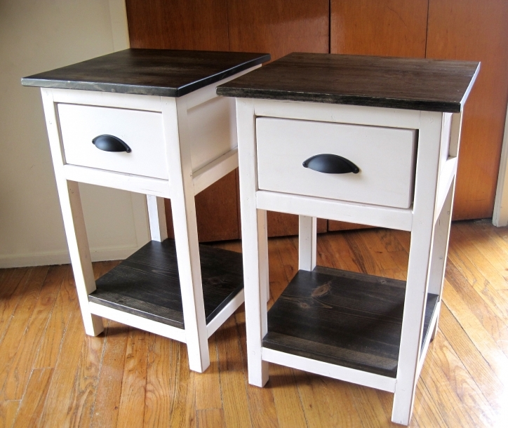 Narrow Bedside Table Diy White Ideas With Storage And Drawer Pic