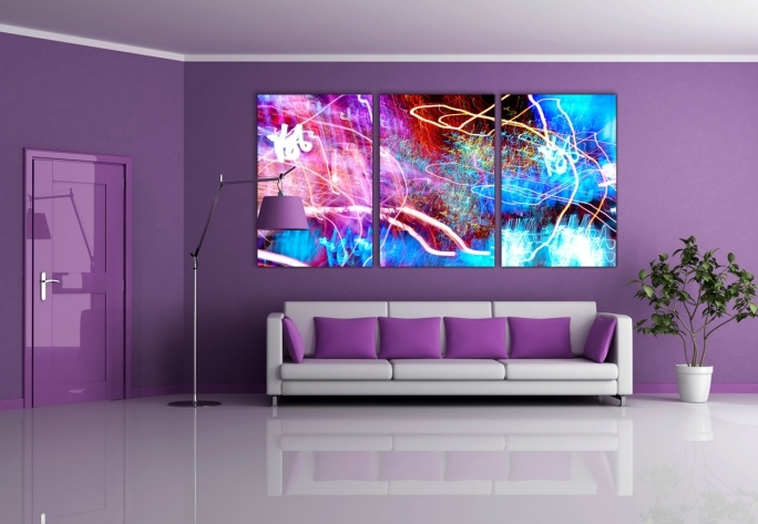 Outstanding Purple Wall Decor Regarding Interior Living Room Remarkable Medium Purple Wall Colors  Image