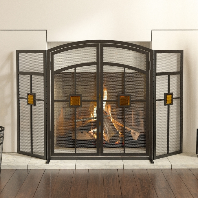 Pleasant Hearth Fireplace Doors 32 X 50 Mission 3 Panel Fireplace Screen 15137