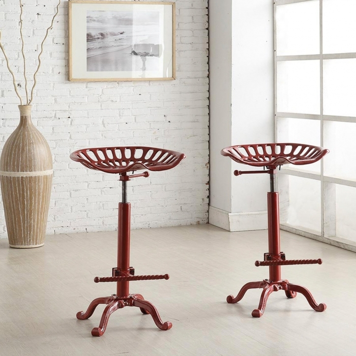 Tractor Seat Bar Stools Cody Adjustable Farmhouse Red Photos
