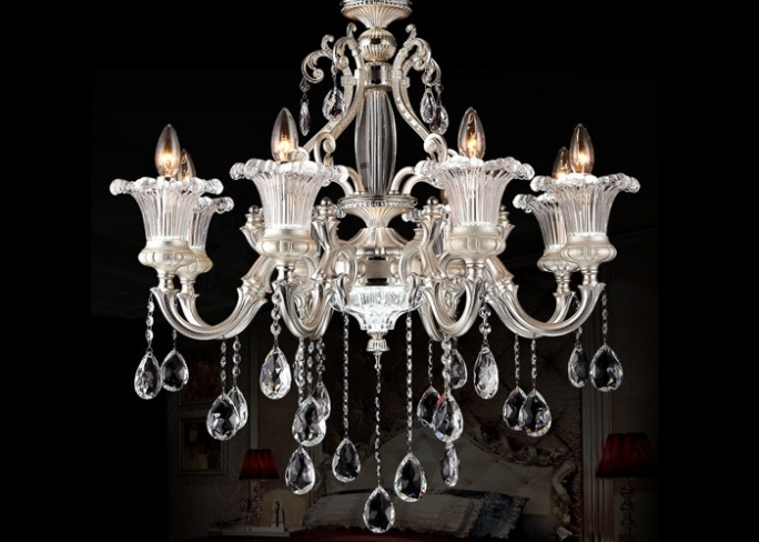 Wonderful Italian Chandeliers Style With 8 Light Modern Chandelier Lighting Pearl Silver Zinc Strong Style Color Image