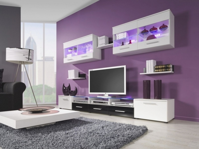 Wonderful Purple Wall Decor Within Grey Living Room Decorating Ideas  Photos