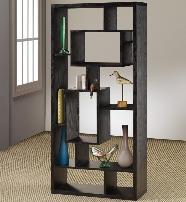 Black Painted Wood Modular Open Shelving Units Design With Rectangular Frame 7