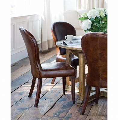 Brown Leather Dining Chair Bunyan Rustic Lodge Upholstered Dining Room Furniture Pictures