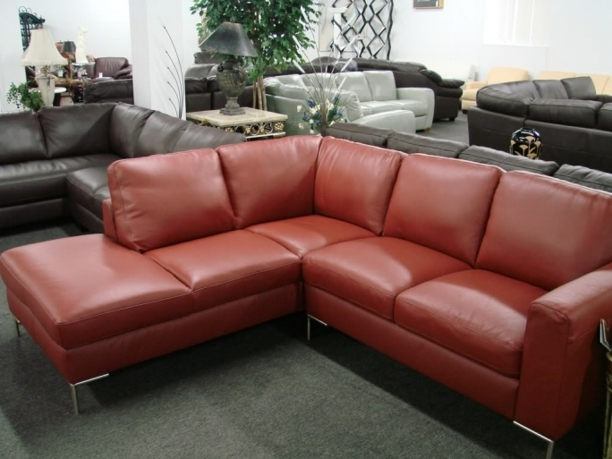 Natuzzi Leather Sectional Sofa Red I334 Images