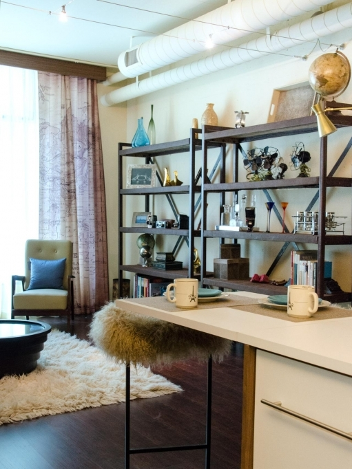 Open Shelving Units Lauri Howell Blue White Eclectic Downtown Loft Shelving Living Room Hgtvcom 8