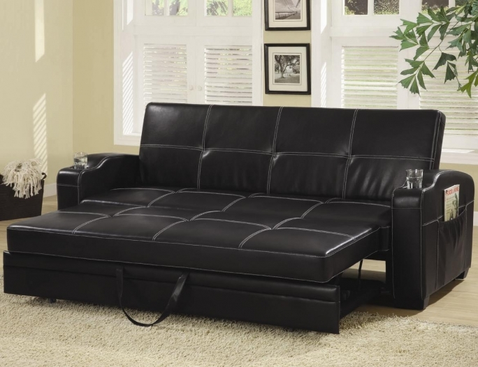 Pull Out Couch Black Leather Bedroom Couches Loveseats Picture