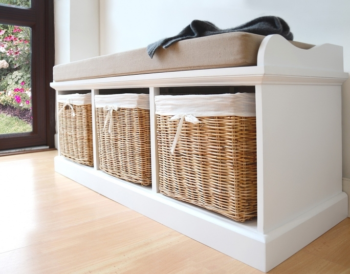Storage Bench White With Baskets And Cushion Design Ideas Pic