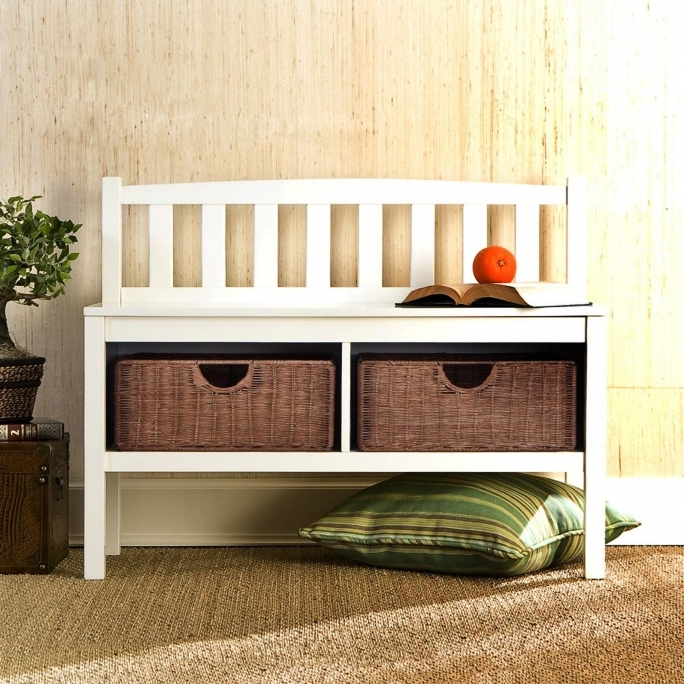 White Storage Bench With Baskets Best Design Ideas Photos