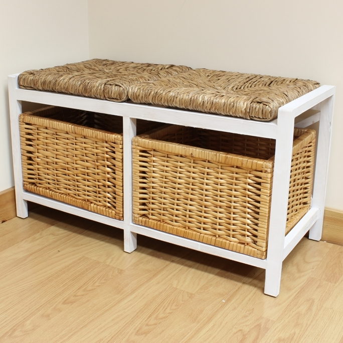 White Storage Bench With Baskets Solid Wood For Bathroom Using Wicker Storage 2 Square Image